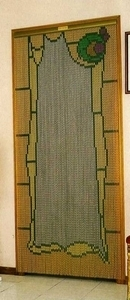 Chain Link Door Fly Screen Curtain - Stained Glass Window
