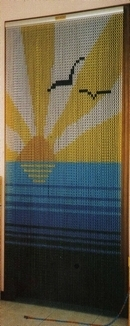 Patterned Chain Fly Screen Curtain - Sun and Sea Design