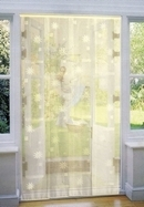 Mesh Strip Door Fly Curtain - Cream & Flowers